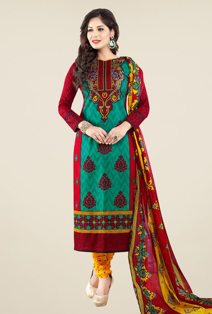 Salwar Studio Red & Yellow Printed Cotton Dress Material