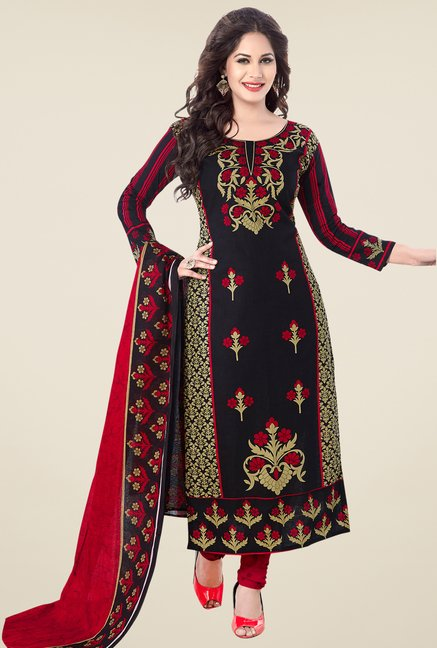 Salwar Studio Black & Red Floral Print Cotton Dress Material