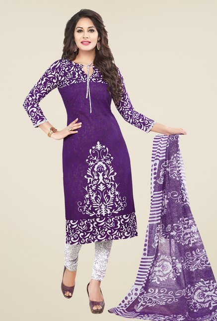 Salwar Studio Purple & White Printed Cotton Dress Material