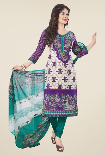 Salwar Studio Purple & Green Printed Cotton Dress Material