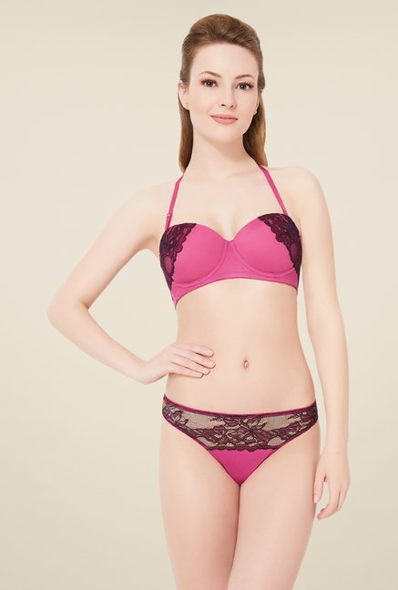 28d52a99482 Buy Amante Pink Lace Thong Panty For Women Online At Tata CLiQ