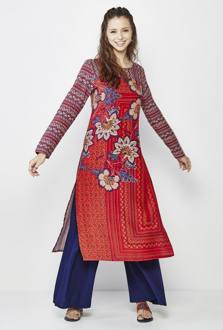 Global Desi Orange Floral Print Kurta
