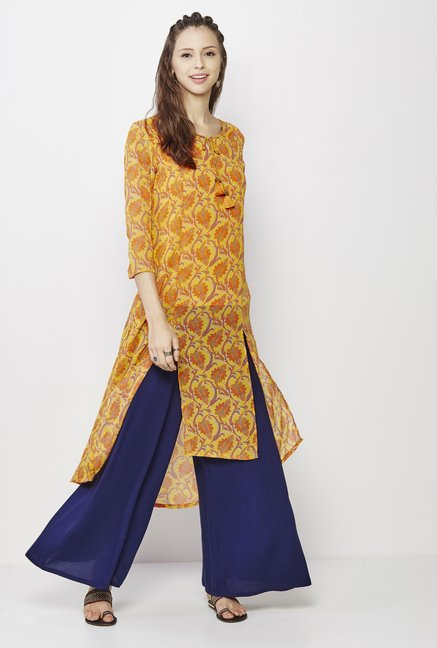Global Desi Yellow Floral Print Kurta