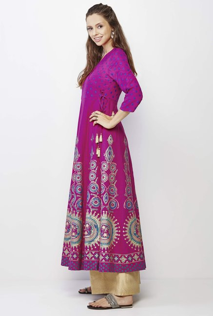 Global Desi Magenta Printed Kurta