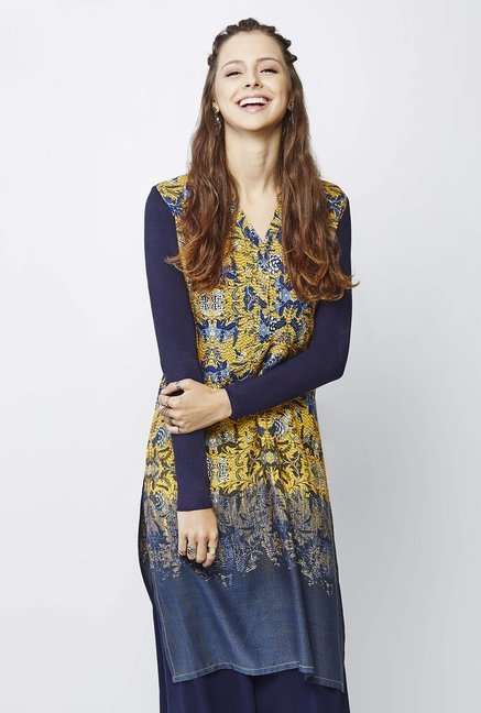 Global Desi Navy Floral Print Kurta
