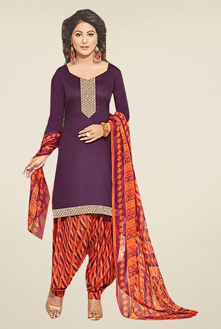 Ishin Purple & Orange Solid Cotton Dress Material