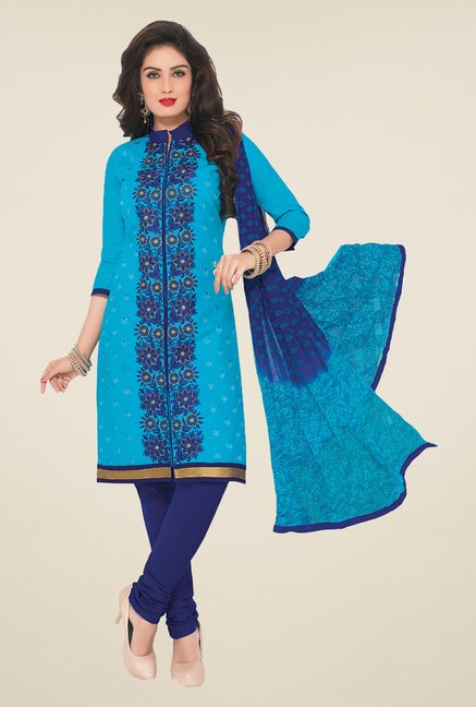 Salwar Studio Blue Embroidered Dress Material