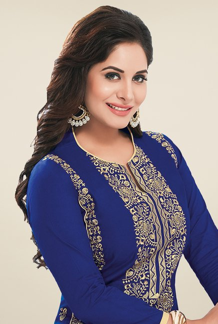 Salwar Studio Blue & Cream Embroidered Dress Material
