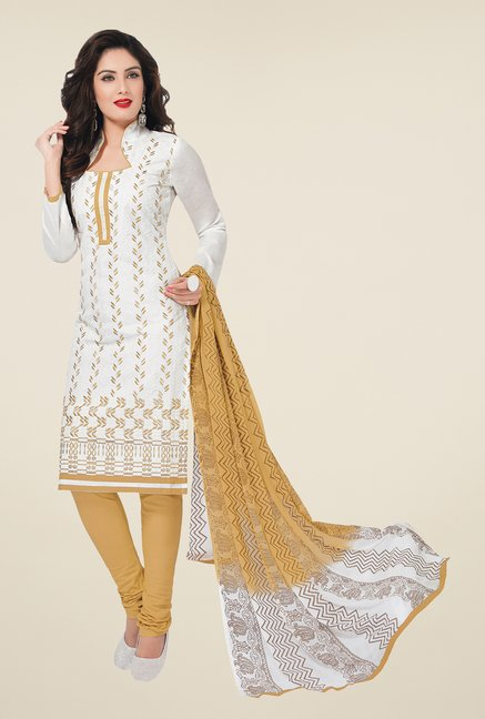 Salwar Studio Off White & Beige Embroidered Dress Material