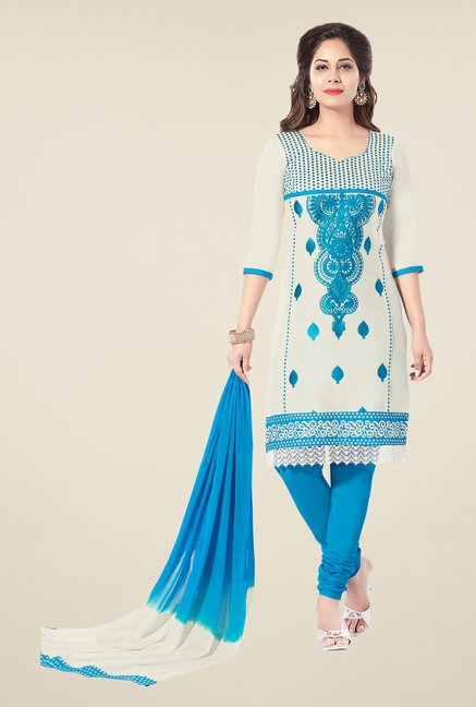 Salwar Studio Off White & Blue Embroidered Dress Material