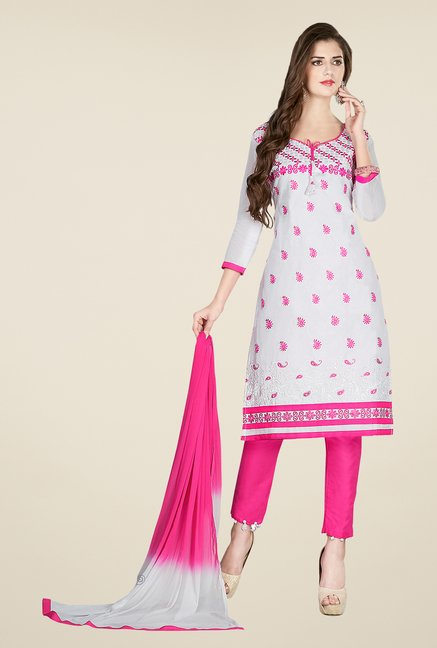 Salwar Studio Off White & Pink Embroidered Dress Material