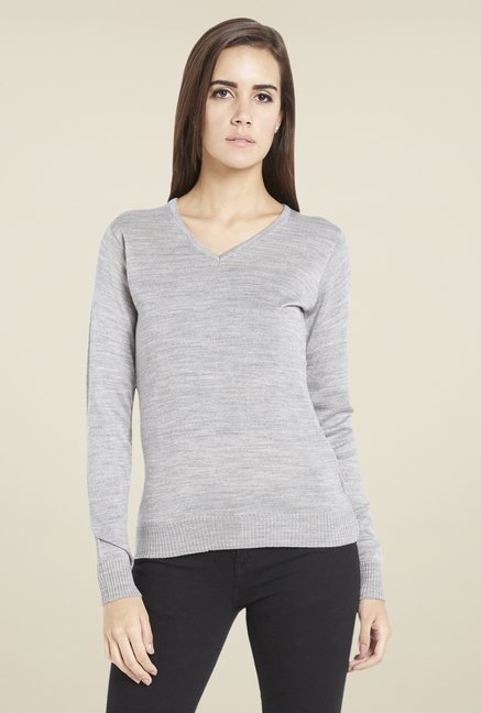 Globus Chic Grey Melange Textured Sweatshirt