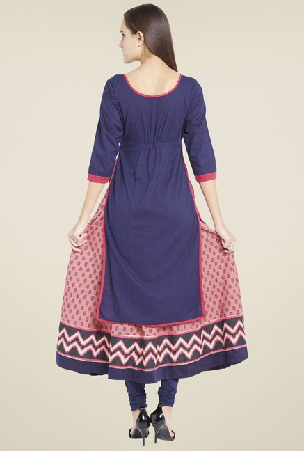 Globus Blue & Peach Embroidered Kurta