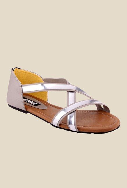ac11f0c3f95e88 Buy Kielz Grey   Silver Cross Strap Sandals For Women Online At Tata CLiQ