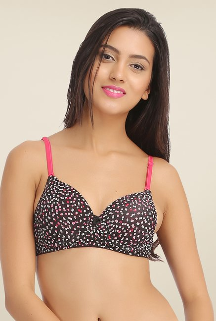 Clovia Black Padded Printed Bra