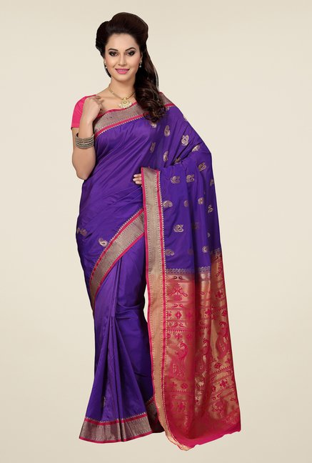 Ishin Purple & Pink Embroidered Art Silk Saree