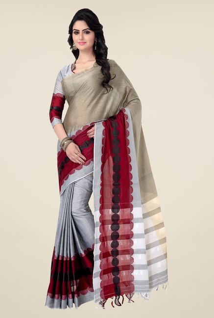 Ishin Multicolor Printed Poly Cotton Saree