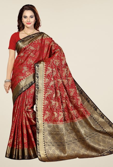 Ishin Red & Golden Printed Poly Silk Saree