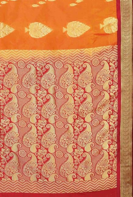 Ishin Orange & Red Printed Art Silk Saree