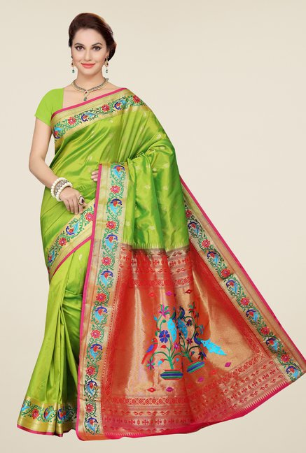 Ishin Green & Orange Printed Poly Silk Saree