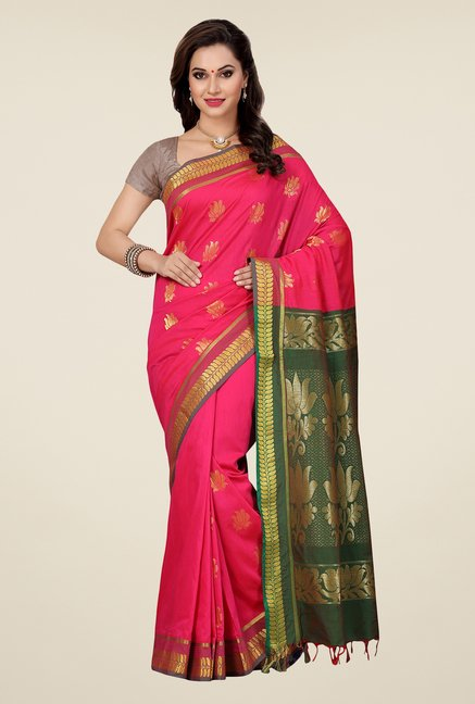 Ishin Pink & Green Embroidered South Silk Saree