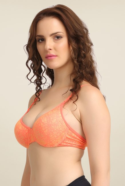 Clovia Orange Underwired Padded Bra