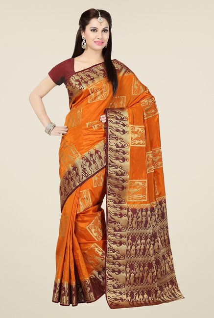 Ishin Orange & Maroon Embroidered Tussar Silk Saree