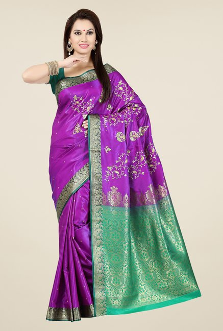 Ishin Purple & Green Embroidered Satin Saree
