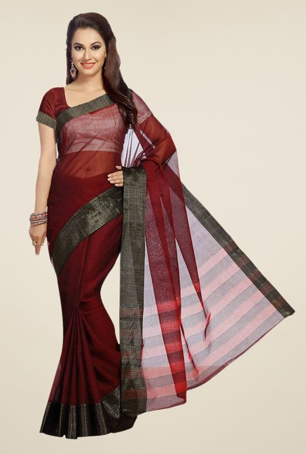 Ishin Maroon Solid Poly Cotton Free Size Saree