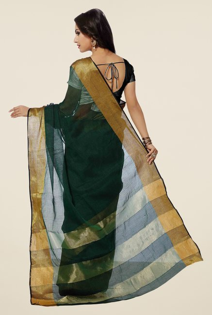 Ishin Green Solid Poly Cotton Free Size Saree