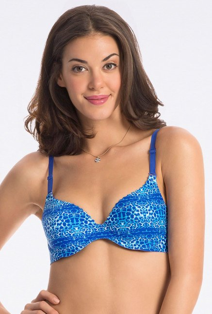 PrettySecrets Blue Animal Print Bra
