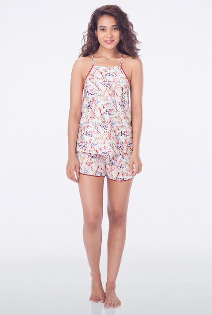 PrettySecrets Off White Printed Cami & Shorts Set