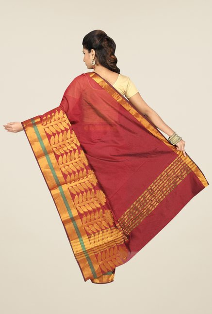 Pavecha's Maroon Banarasi Cotton Silk Solid Saree