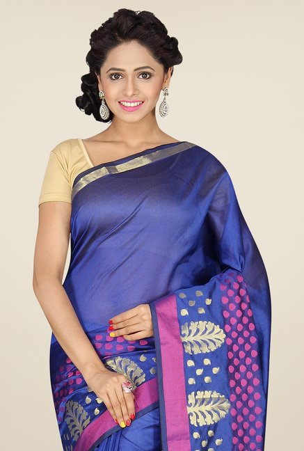 Pavecha's Blue Banarasi Cotton Silk Saree