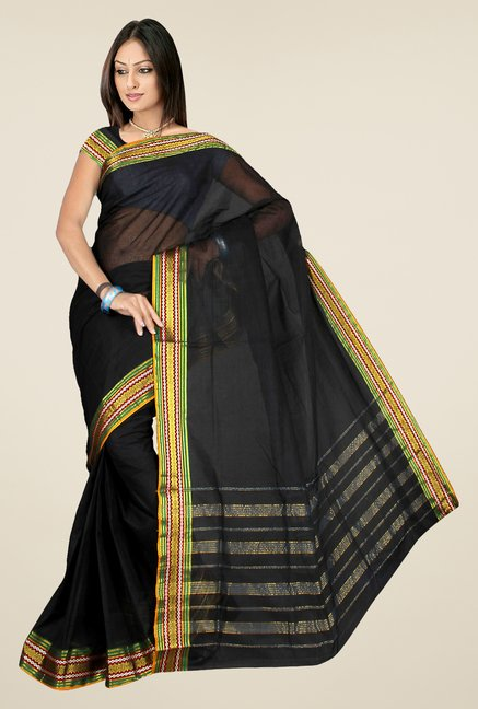 Pavecha's Black Mangalagiri Cotton Saree