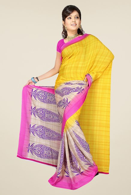 Pavecha's Yellow & Purple Synthetic Printed Saree