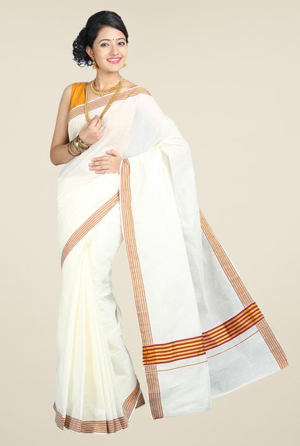 Pavecha's White Mangalagiri Cotton Silk Saree