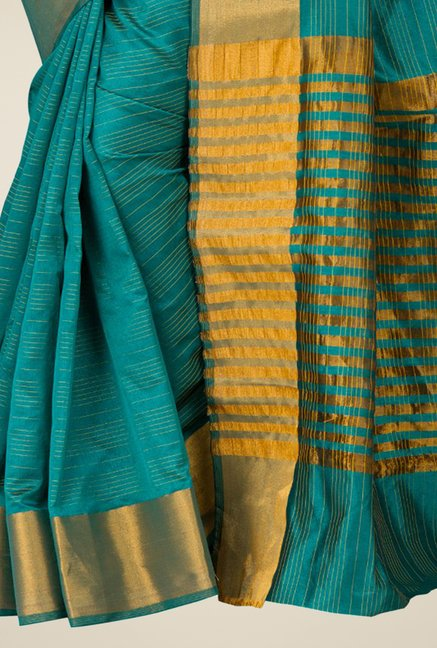 Pavecha's Teal Banarasi Cotton Silk Saree