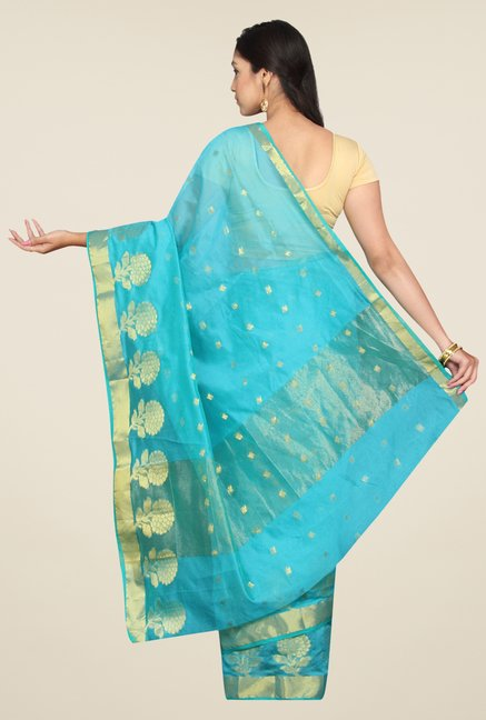 Pavecha's Sky Blue Banarasi Cotton Silk Self Design Saree