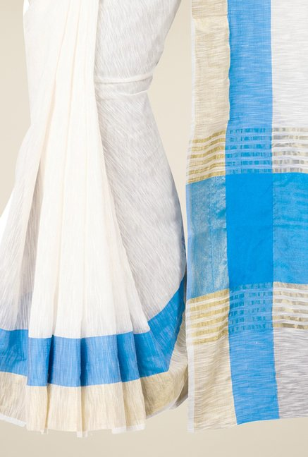 Pavecha's White & Blue Banarasi Cotton Silk Saree