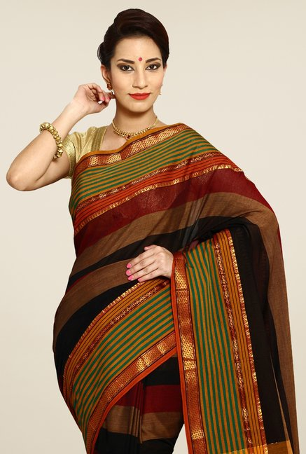 Pavecha's Multicolor Mangalagiri Cotton Stripes Saree