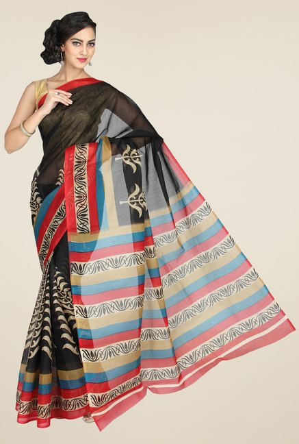 Pavecha's Black Mangalagiri Cotton Polyblend Saree