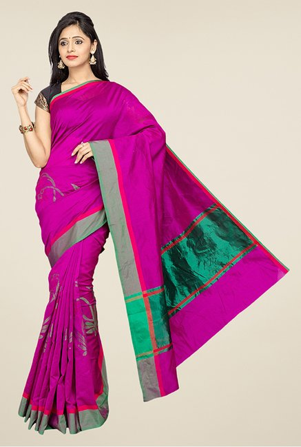 Pavecha's Magenta Banarasi Cotton Silk Saree