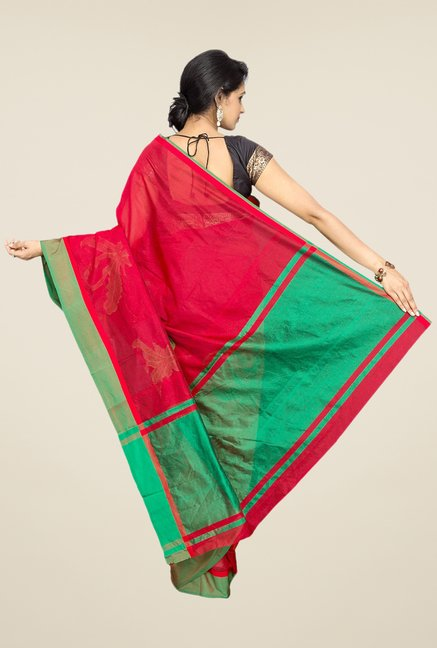 Pavecha's Red Banarasi Cotton Silk Saree