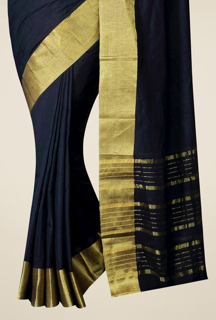 Pavecha's Black Mangalagiri Cotton Solid Saree