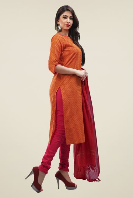 Touch Trends Orange & Red Printed Dress Material