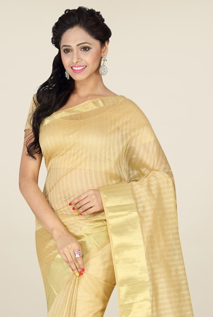 Pavecha's Beige Banarasi Cotton Silk Saree