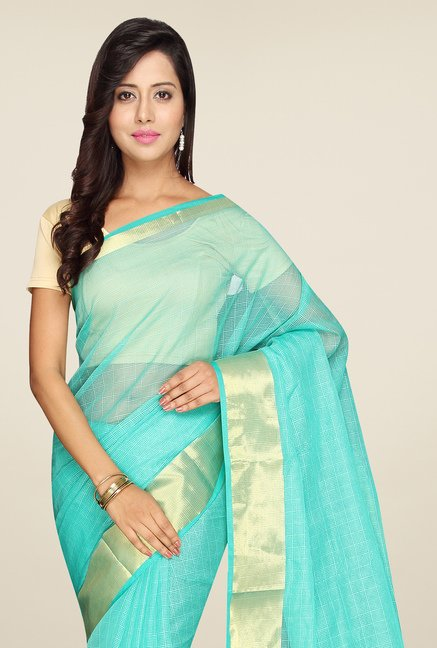 Pavecha's Turquoise Banarasi Cotton Silk Saree