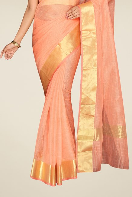 Pavecha's Peach Banarasi Cotton Silk Saree