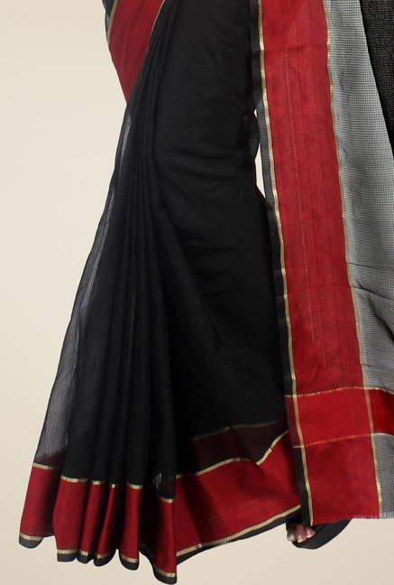 Pavecha's Black Cotton Silk Saree